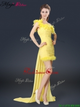 Sweet One Shoulder Watteau Train Fashionable Prom Dresses in Yellow BMT067AFOR