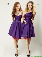 Top Selling Mini Length Ruching Prom Dress in Purple BMT0142FOR
