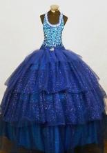 Brand New Ball Gown Halter Top Floor-length Blue Organza Beading Flower Girl dress Style FA-L-463