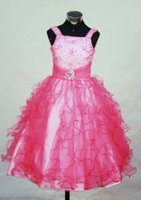 Brand New Ball Gown Strap Floor-length Red Organza Beading Flower Girl dress Style FA-L-437
