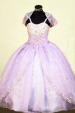 Brand New Ball Gown Straps Floor-Length Lilac Beading Flower Girl Dresses Style FA-S-415