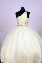 Cute Ball gown One-shoulder Neck Floor-length Yellow Beading Flower Girl Dresses Style FA-C-281