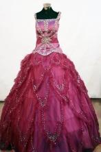 Elegant Ball Gown Square neck Floor-length Red Beading Flower Girl Dresses Style FA-C-243