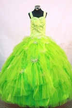 Elegant Ball Gown Strap Floor-length Green Organza Beading Flower Girl dress Style FA-L-417