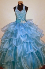 Exclusive Ball Gown Halter Top Floor-length Light Blue Organza Beading Flower Girl dress Style FA-L-462