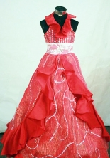 Fashionable Ball Gown Halter Top Floor-length Red Taffeta Beading Flower Girl dress Style FA-L-414