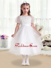 Fashionable Scoop White Flower Girl Dresses with Appliques     FGL267FOR