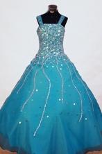 Gorgeous A-line Strap Floor-length Blue Beading Flower Girl Dresses Style FA-C-262