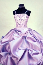 Gorgeous A-line Strap Floor-length Purple Beading Flower Girl Dresses Style FA-C-279
