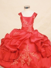 Lovely Ball gown Square Floor-length Red Appliques With Beading Flower Girl Dresses Style FA-C-249