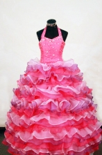 Luxurious Ball Gown Halter Top Neck Floor-Length Hot Pink Beading Flower Girl Dresses Style FA-S-416