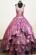 Perfect A-line Halter top neck Floor-length Purple Beading Flower Girl Dresses Style FA-C-274