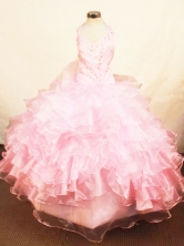 Perfect Ball Gown Halter Top Floor-length Baby Pink Organza Beading Flower Girl dress Style FA-L-419