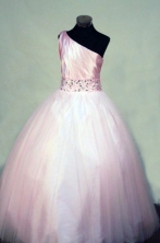Perfect Ball gown One-shoulder Neck Floor-length Pink Beading Flower Girl Dresses Style FA-C-264