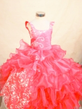 Perfect Ball gown Square Floor-length Red Appliques Flower Girl Dresses Style FA-C-250