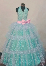 Popular Ball Gown Halter Top Teal Beading Flower Girl dress Style FA-L-449