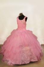Popular Ball Gown Off The Shoulder Neckline Floor-Length Light Pink Beading Flower Girl Dresses Style FA-S-421