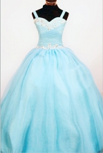 Popular Ball Gown Strap Floor-length Teal Appliques Flower Girl dress Style FA-L-430