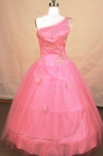 Romantic Ball gown One-shoulder Neck Floor-length Pink Beading Flower Girl Dresses Style FA-C-253