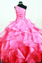 Romantic Ball gown One-shoulder Neck Pink Beading Floor-length Flower Girl Dresses Style FA-C-272