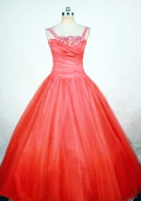 Simple Ball Gown Strap Floor-length Orange Red Flower Girl dress Style FA-L-415