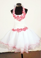Sweet Ball Gown Halter Top Mini-length White Organza Hand Flowers Flower Girl dress Style FA-L-423