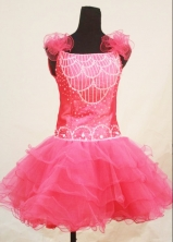Sweet Ball Gown Strap Mini-length Pink Organza Beading Flower Girl dress Style FA-L-413