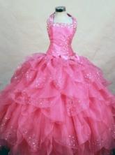 Wonderful Ball Gown Halter Top Floor-length Hot Pink Organza Beading Flower Girl dress Style FA-L-457