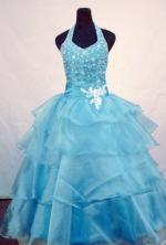 Wonderful Ball Gown Halter Top Floor-length Light Blue Orangza Beading Flower Girl dress Style FA-62901