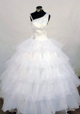 Wonderful Ball Gown Strap Floor-length White Organza Beading Flower Girl dress Style FA-L-439