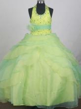 2012 Beautiful Ball Gown Halter Top Floor-length Flower Girl Dress  Style RFGDC0113