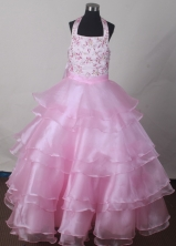 2012 Beautiful Ball Gown Halter Top Floor-length Flower Girl Dress Style RFGDC07