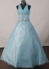 2012 Brand new Ball Gown Halter Top Floor-length Flower Girl Dress Style RFGDC030