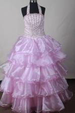 2012 Discout Ball Gown Halter Top Floor-length Flower Girl Dress Style RFGDC05