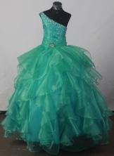 2012 Elegant Ball Gown One-shoulder Floor-length Flower Girl Dress Style RFGDC045