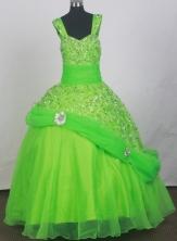 2012 Elegant Ball Gown Strap Floor-length Little Gril Pagant Dress Style RFGDC079
