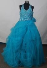 2012 Exquisite Ball Gown Halter Top Floor-length Flower Girl Dress Style RFGDC06