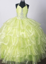 2012 Fashionable Ball Gown Halter Top Floor-length Flower Girl Dress  Style RFGDC010