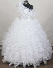 2012 Gorgeous Ball Gown One-shoulder Floor-length Flower Girl Dress Style RFGDC091