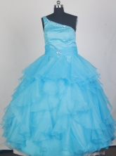 2012 Lovely Ball Gown One-shoulder Floor-length Little Gril Pagant Dress Style RFGDC076