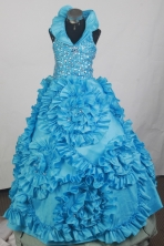 2012 Luxurious Ball Gown Halter Top Floor-length Little Gril Pagant Dress Style RFGDC062