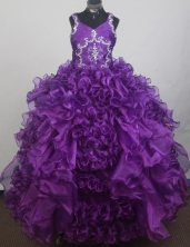 2012 Luxurious Ball Gown V-neck Floor-length Little Gril Pagant Dress Style RFGDC073
