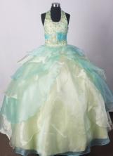 2012 Modest Ball Gown Halter Top Floor-length Flower Girl Dress  Style RFGDC09
