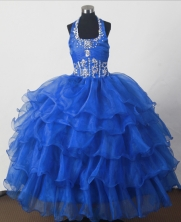 2012 Perfect Ball Gown Halter Top Floor-length Little Gril Pagant Dress Style RFGDC048