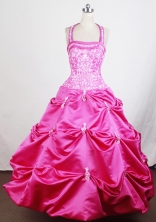 2012 Popular Ball Gown Halter Top Floor-length Little Gril Pagant Dress Style RFGDC083