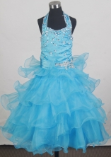 2012 Pretty Ball Gown Halter Top Floor-length Flower Girl Dress Style RFGDC087