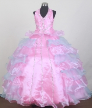 2012 Pretty Ball Gown Halter Top Floor-length Little Gril Pagant Dress  Style RFGDC055