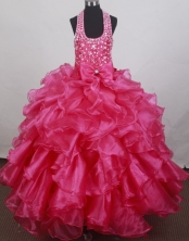 2012 Romantic Ball Gown Halter Top Floor-length Flower Girl Dress Style RFGDC086