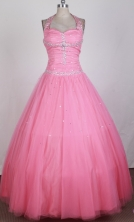 2012 Simple Ball Gown Halter Top Floor-length Little Gril Pagant Dress Style RFGDC057