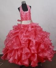 2012 Sweet Ball Gown Halter Top Floor-length Flower Girl Dress Style RFGDC0101